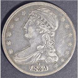 1839-O BUST HALF DOLLAR, XF+ KEY DATE!