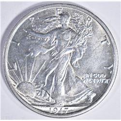 1917-D OBVERSE WALKING LIBERTY HALF DOLLAR, GEM BU