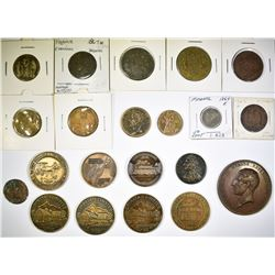 LOT OF 21 OLD FOREIGN COINS MEDALS ETC.