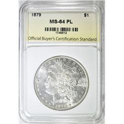 1879 MORGAN DOLLAR, OBCS CH/GEM BU PL