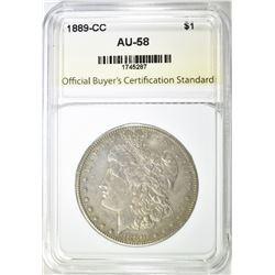 1889-CC MORGAN DOLLAR, OBCS AU/BU RARE!!