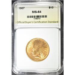 1907 $10.00 INDIAN GOLD, OBBCS CH/GEM BU