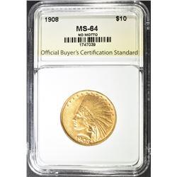 1908 NO MOTTO $10.00 GOLD INDIAN, OBCS CH/GEM BU