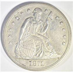 1871 SEATED DOLLAR CH BU SEMI PL