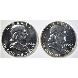 2-1956 GEM PROOF FRANKLIN HALF DOLLARS