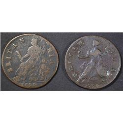 1699 & 1738 BRITISH HALF PENNYS