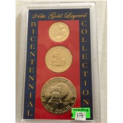 24KT Gold Layered Bicentennial Coin Collection 1 Dollar Half Quarter in Original Hard Display Case