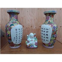 Buddha & 2 Vases
