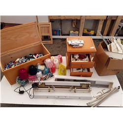 Wood Trunk , Night Table,  knitting Machine