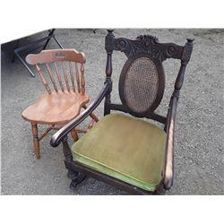 1  Rocking Chair, 1 kitchen Chair