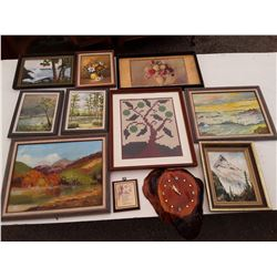 9 Framed paintings Mostly Oil, 1 Burl Clock