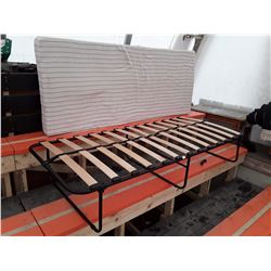 Folding Bed Frame With Foam Mattress and Extra Memory Foam.