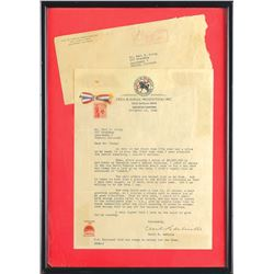 Cecil B. deMille Signed Letter with Hair Strand