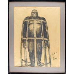 King Kong (1976) Original Concept Drawing by Artist Mentor Huebner