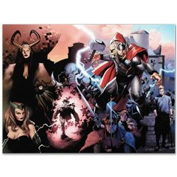 """Thor #600"" Limited Edition Giclee on Canvas by Oliver Coipel and Marvel Comics. Numbered with Certi"