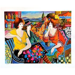 "Patricia Govezensky- Original Serigraph on Paper ""Girl Talk"""
