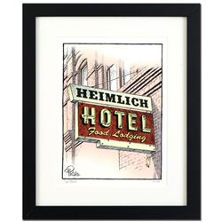 "Bizarro! ""Heimlich Hotel"" is a Framed Limited Edition Hand Signed by creator Dan Piraro; Numbered wi"