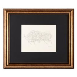 "Guillaume Azoulay, ""Pen and Ink AE"" Framed Original Drawing, Hand Signed with Letter of Authenticity"