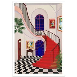 """Interior with Red Staircase"" Limited Edition Serigraph by Fanch Ledan, Numbered and Hand Signed wit"
