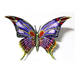 "Patricia Govezensky- Original Painting on Cutout Steel ""Butterfly"""