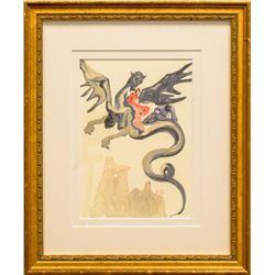 "Salvador Dali- Original Color Woodcut on B.F.K. Rives Paper ""Inferno 17"""