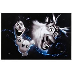 """Olaf & Sven"" Disney Limited Edition Giclee on Canvas Edition by Noah, Numbered and Hand Signed with"