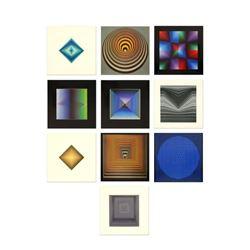 "Victor Vasarely (1908-1997) - ""Vonal Portfolio"" Includes 10 Heliogravure Prints, Titled Inverso."