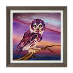 """Martin Katon, """"Brighter Than Life: Owl"""" Framed Original Oil Painting on Canvas, Hand Signed with Cer"""