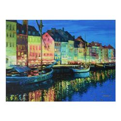 "Howard Behrens (1933-2014), ""As Night Falls - Copenhagen"" Limited Edition on Canvas, Numbered and Si"