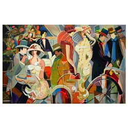 """Isaac Maimon, """"Cafe Romantique"""" Limited Edition Serigraph, Numbered and Hand Signed with Letter of A"""