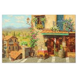 """Viktor Shvaiko - """"San Trovaro Taverna"""" Limited Edition Hand Embellished on Canvas, Numbered and Hand"""