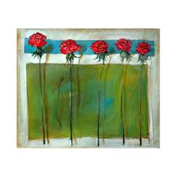 """Lenner Gogli, """"Emerald Fresco"""" Limited Edition on Canvas, Numbered and Hand Signed with Letter of Au"""