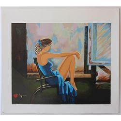 "Alexander Borewko- Original Serigraph on Paper ""Lady In Blue"""