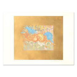 "Guillaume Azoulay ""Manege"" Hand colored etching on paper with hand laid gold leaf"