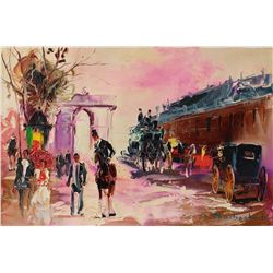 "Shalva Phachoshvili- Original Oil on Canvas ""Train Station"""