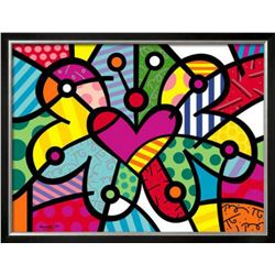 """Romero Britto """"Heart Butterfly"""" Custom Framed Offset Lithograph"""