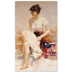"""Pino (1939-2010) - """"White Lace"""" Artist Embellished Limited Edition on Canvas (24"""" x 40""""), AP Numbere"""