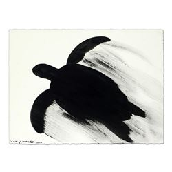"""Wyland, """"Silhouette Motion Turtle"""" Original Sumi Ink Painting, Hand Signed with Certificate of Authe"""