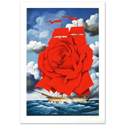 """""""Red Rose Ship"""" Limited Edition Hand Pulled Original Lithograph by Rafal Olbinski, Numbered and Hand"""