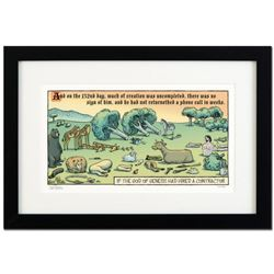 """Bizarro! """"God's Contractor"""" is a Framed Limited Edition Hand Signed by creator Dan Piraro; Numbered"""