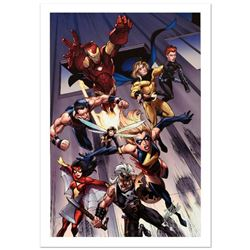 """""""The Mighty Avengers #7"""" Limited Edition Giclee on Canvas by Mark Bagley and Marvel Comics. Numbered"""