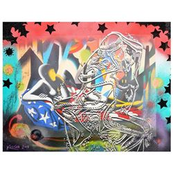"Mark Kostabi, ""44 Starstruck"" Mixed Media Original Painting; Hand Signed, with COA."