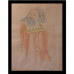 "Salvador Dali- Watercolor on Etching ""King David"""