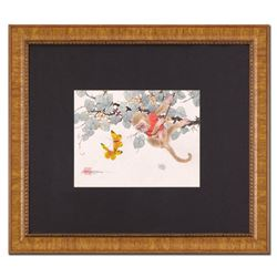 "Caroline Young, ""Playtime"" Framed Original Gouache Painting on Mother of Pearl Paper, Hand Signed wi"