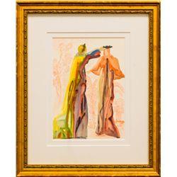 "Salvador Dali- Original Color Woodcut on B.F.K. Rives Paper ""Purgatory 27"""
