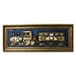 "Zaza Koreli- Original Collage on Wood Panel ""Vintage Train"""