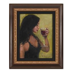 """Vincent Silvano, """"Thinking of You"""" Framed Original Oil Painting on Canvas, Hand Signed with Certific"""