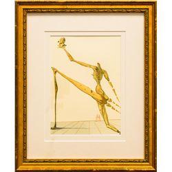 "Salvador Dali- Original Color Woodcut on B.F.K. Rives Paper ""Inferno 28"""