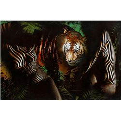 """Vera V. Goncharenko- Original Giclee on Canvas """"The Ladies with the Tiger"""""""