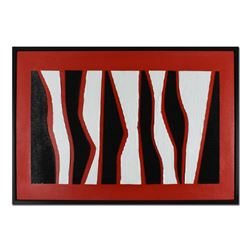 "George Marlowe, ""Black & White & Red All Over"" Framed Hand Signed Original Mixed Media with COA"